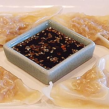 Shrimp Dumplings with Sesame Dipping Sauce