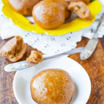 100% Whole Wheat No-Knead Make Ahead Dinner Rolls with Honey Butter