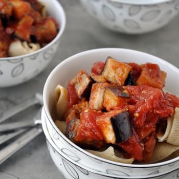 Pasta Arrabiata with Roasted Eggplant