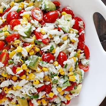 Summer Tomatoes, Corn, Crab and Avocado Salad