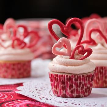 Buttermilk Cupcakes and Cherry Frosting