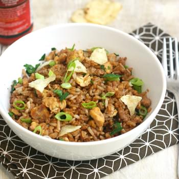 Turkey Fried Rice with Crushed Potato Chips