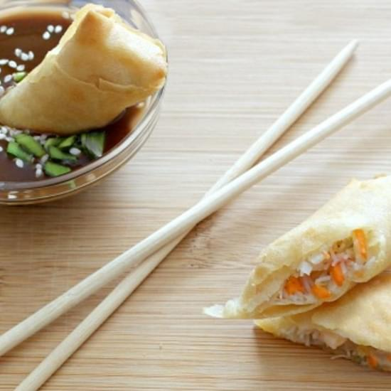 Easy Baked Vegetable Spring Rolls & Ginger Soy Dipping Sauce