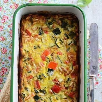 Roasted Vegetable Crustless Quiche with Basil & Pine Nuts