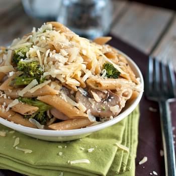 Rustic Garlic Penne with Roasted Broccoli and Sauteed Mushrooms