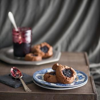 Peanut Butter Cocoa Cookies with Berry Jam
