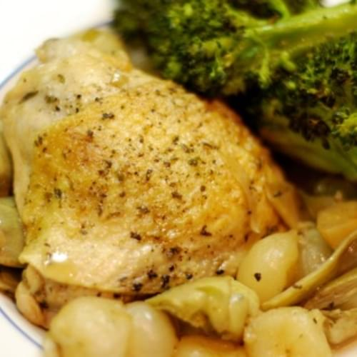 Braised Chicken Legs with Artichokes and Pearl Onions