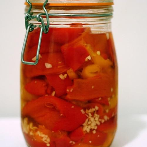 Pickled Garlicky Red Peppers