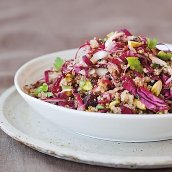 Quinoa & Radicchio Salad with Dried Cherries & Pistachios