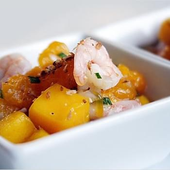 Tropical Fruit Salad with Baby Shrimps and Toasted Coconut