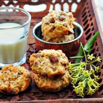 Eggless Banana Oatmeal Chocolate Chip Cookies