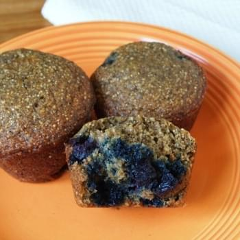 Cinnamon Blueberry Buckwheat Chia Muffins