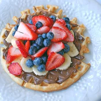 Nutella and Fruit Topped Waffles