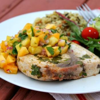 Grilled Swordfish with Pineapple- Peach Salsa