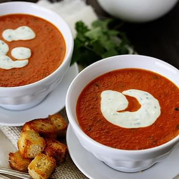 Roasted Red Pepper Soup with Smoked Paprika and Cilantro Cream