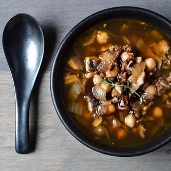 Chorizo Soup with Shiitake Mushrooms & Chickpeas