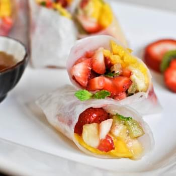 Tropical Kiwi Strawberry Spring Rolls