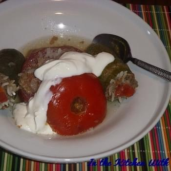 Meat Stuffed Zucchini and Tomatoes or Etli Kabak ve Domates Dolması