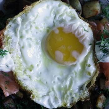 Smoked Salmon & Dill Hash with Fried Eggs
