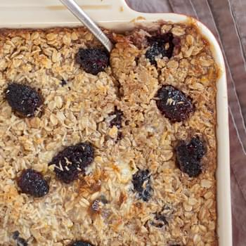 Baked Oatmeal with Blackberries, Coconut and Banana