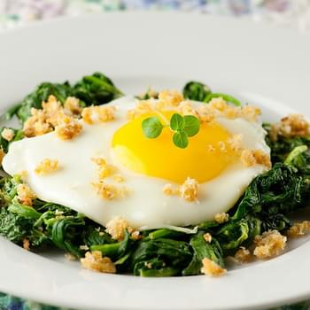 Eggs with Mustard Creamed Spinach and Crispy Breadcrumbs