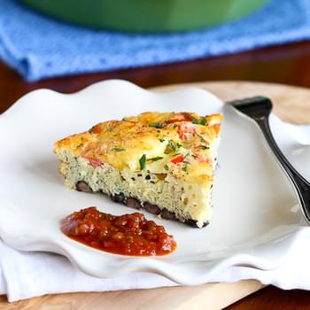 Southwestern Crustless Quiche Recipe with Black Beans {Vegetarian}