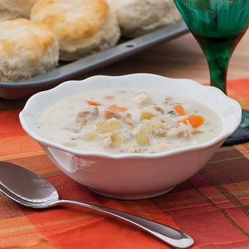 Creamy Turkey and Wild Rice Soup {Slow Cooker}