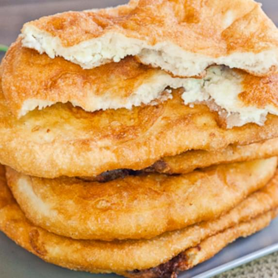 "Fried Dough Filled with Feta Cheese a.k.a. ""Langosi cu Branza"""