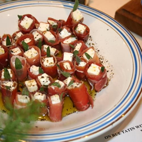 French Appetizers: Dukkah & Feta Wrapped with Prosciutto