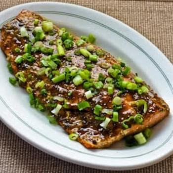 Roasted Wild Salmon with Soy-Wasabi-Agave Glaze and Green Onions