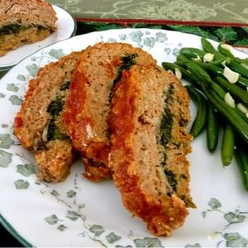 Turkey Meatloaf Stuffed with Mushroom, Spinach, and  Herbs