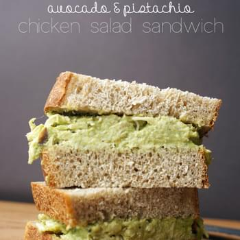Avocado Pistachio Chicken Salad Sandwich
