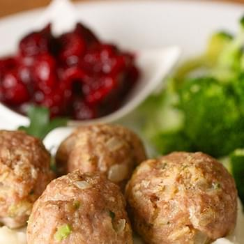 Herbed Turkey Meatballs with Cranberry Sauce