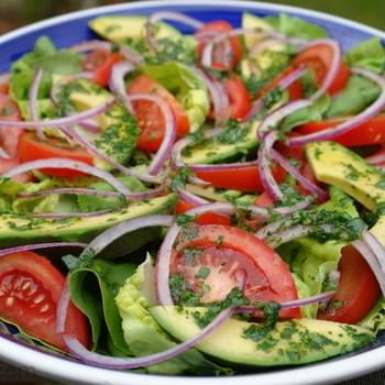 Garden Salad With Lime Cilantro Dressing