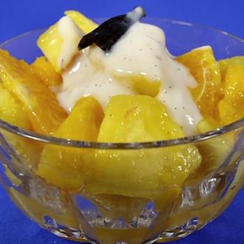 Tropical Fruit Salad with Vanilla-Scented Yogurt Sauce