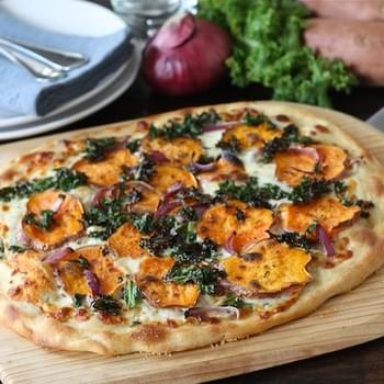 Sweet Potato Kale Pizza with Rosemary & Red Onion