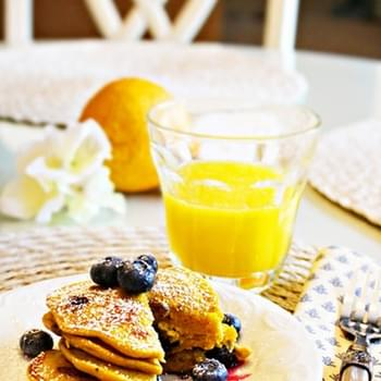Spiced Pumpkin and Blueberry Pancakes