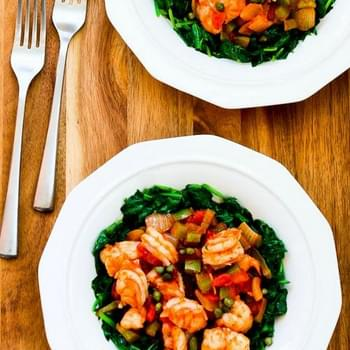 Mediterranean Shrimp over Spinach
