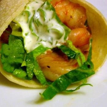 Shrimp Tacos with Lime-Cilantro Crema
