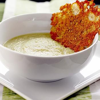 Broccoli and Leek Soup with Black Pepper Frico serves 4