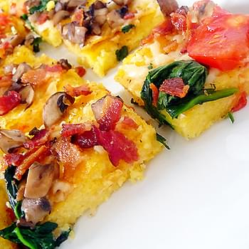 Polenta Pizza with Spinach, Mushrooms, Bacon & Tomatoes