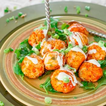 Crockpot Buffalo Chicken Meatballs with Blue Cheese Dressing