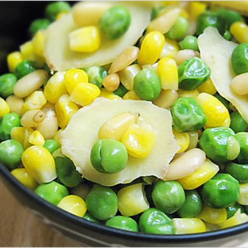 Stir-Fry Pine Nuts with Corn and Sweet Peas Recipe (清炒松子玉米甜豆)