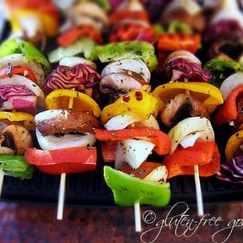 Grilled Vegetable Kebabs on Dirty Rice