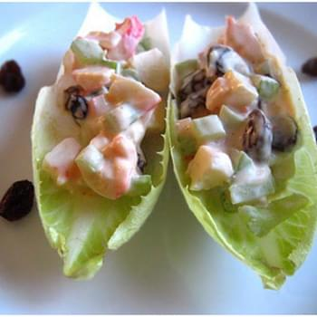 French Endive with Celery Mayonnaise, Artificial Crab Meat, and Raisins