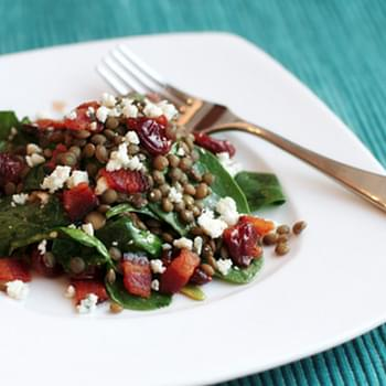 Spinach and Lentil Salad with Blue Cheese and Tart Cherry Vinaigrette