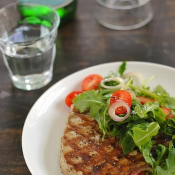 Grilled Tuna with Marinated Tomato and Arugula Salad