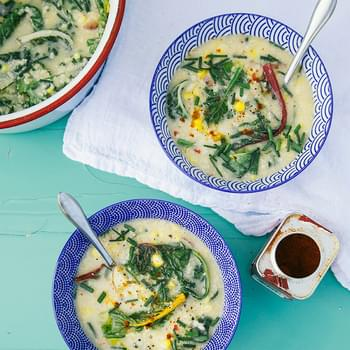 Creamy Millet Corn Chowder With Greens