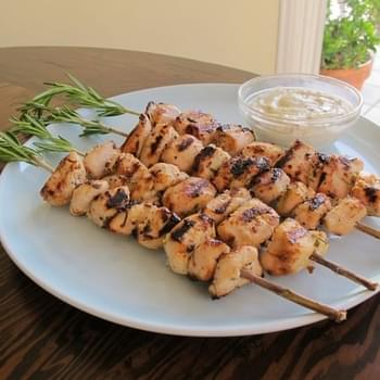 Rosemary Lemon Chicken Skewers with Dijon Mayo
