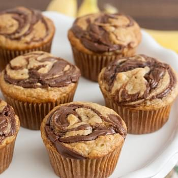 Whole Wheat Peanut Butter and Banana Nutella Swirl Muffins